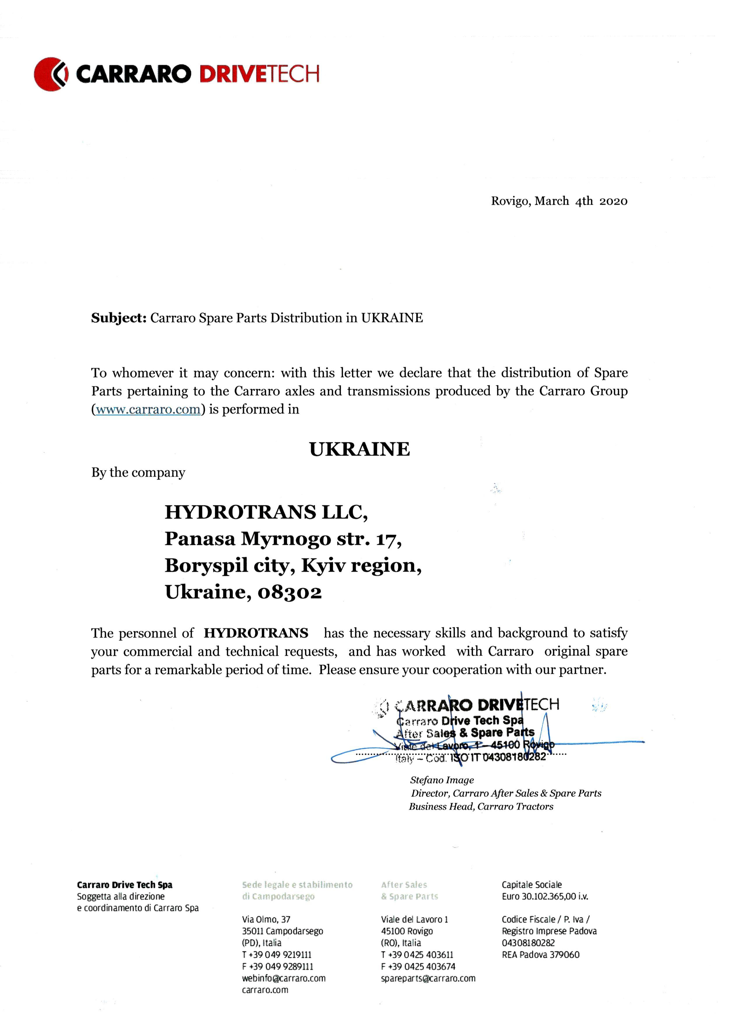 certificate carraro