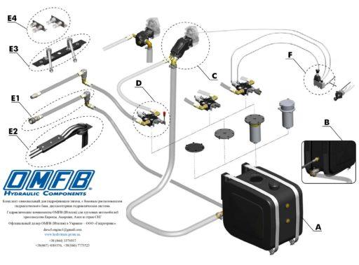 Комплект самосвальный для гидрофикации тягача, с боковым расположением гидравлического бака, двухконтурная гидравлическая система.