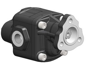 Шестеренчатые насосы NPK UNI, рабочий объем от 10 до 46 см³/об (л/мин при 1000 об/мин), максимальное рабочее давление до 330 бар, присоединительный стандарт UNI (3 отв)